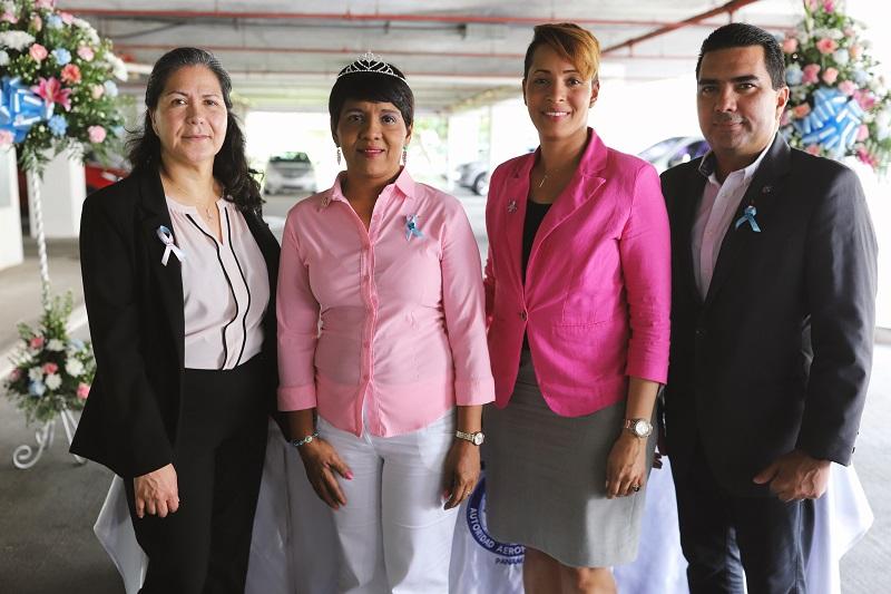 """Con el lema: """"Uniendo Fuerzas contra el Cáncer"""", la Autoridad Aeronáutica Civil dio inicio a la Campaña de la Cinta Rosada y Celeste, en prevención al cáncer de mama y próstata."""